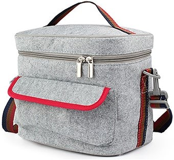 Funjia Gray and Pink Felt Lunchbox