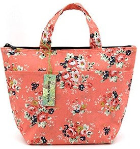 Pink Floral Lunch Bag