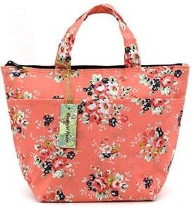 Pink Floral Lunch Bag