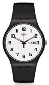 Swatch Originals Twice Again White Dial Black Silicone Unisex Watch