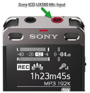 Sony icd ux560 mic input